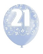 Blue 21st Birthday Balloons