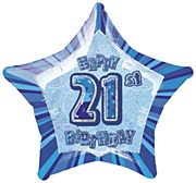 Blue 21st Star Foil Balloon