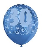 Blue 30th Birthday Balloons
