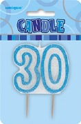 Blue 30th Birthday Candle