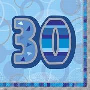 Blue 30th Birthday Napkins