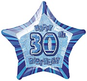 Blue 30th Star Foil Balloon