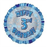Blue 3rd Birthday Balloon