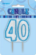 Blue 40th Birthday Candle