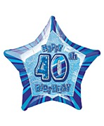 Blue 40th Star Foil Balloon