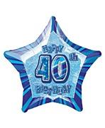 Blue 40th Star Foil Balloon
