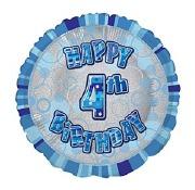 Blue 4th Birthday Balloon