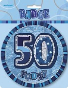 Blue 50th Birthday Badge
