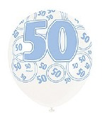 Blue 50th Birthday Balloons