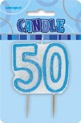 Blue 50th Birthday Candle