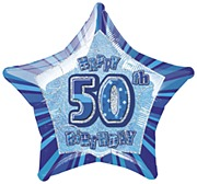 Blue 50th Star Foil Balloon