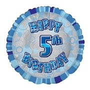 Blue 5th Birthday Balloon