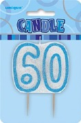 Blue 60th Birthday Candle