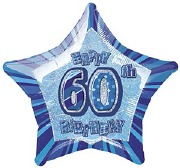 Blue 60th Star Foil Balloon