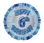 Blue 6th Birthday Balloon