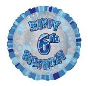 Blue 6th Birthday Balloon