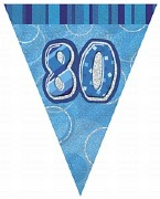 Blue 80th Birthday Bunting