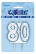 Blue 80th Birthday Candle