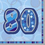 Blue 80th Birthday Napkins