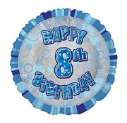 Blue 8th Birthday Balloon
