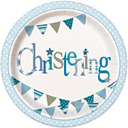 Blue Bunting Christening Plate