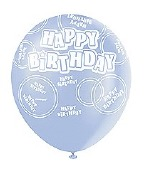 Blue Happy Birthday Balloons
