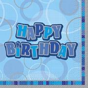 Blue Happy Birthday Napkins