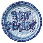 Blue Happy Birthday Plates