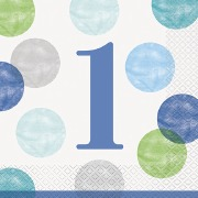 Blue 1st Dots Party Napkins