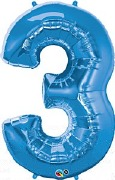 Blue Number 3 Balloon