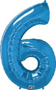 Blue Number 6 Balloon