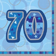 Blue 70th Birthday Napkins