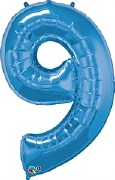 Blue Number 9 Balloon