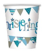 Blue Bunting Christening Cups