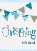 Blue Bunting Invitations