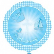 Blue Christening Foil Balloon