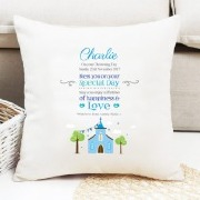 Peronalise Blue Church Cushion