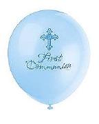 Blue Cross Communion Balloons