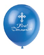 Blue Cross Communion Balloons