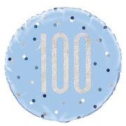 Blue Dot Glitz 100th Balloon