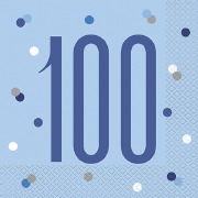 Blue Dots Glitz 100th Napkins
