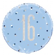 Blue Dot Glitz 16th Balloon