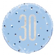 Blue Dot Glitz 30th Balloon