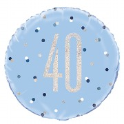 Blue Dot Glitz 40th Balloon