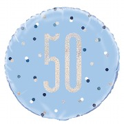 Blue Dot Glitz 50th Balloon