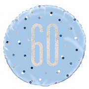 Blue Dots Glitz 60th Balloon