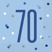 Blue Dot Glitz 70th Napkins