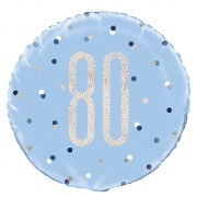 Blue Dots Glitz 80th Balloon