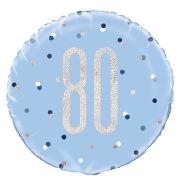 Blue Dots Glitz 80th Balloon