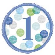 Blue Dots 1st Birthday Balloon